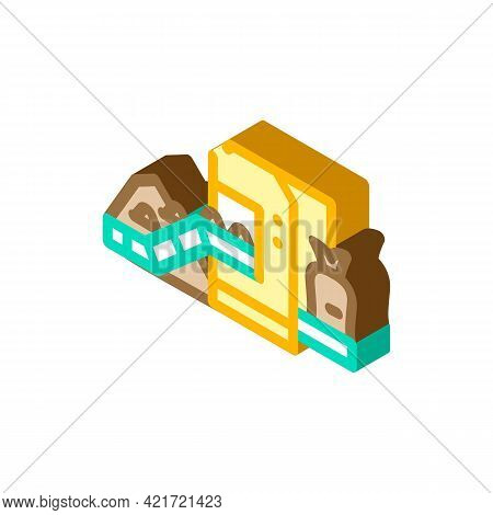 Industrial Packaging Of Compost Isometric Icon Vector. Industrial Packaging Of Compost Sign. Isolate