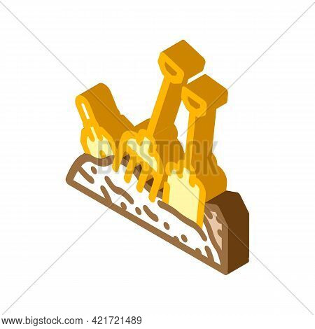 Pitchfork And Shovel Tool On Compost Pile Isometric Icon Vector. Pitchfork And Shovel Tool On Compos