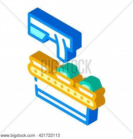 Food Conveyor Isometric Icon Vector. Food Conveyor Sign. Isolated Symbol Illustration
