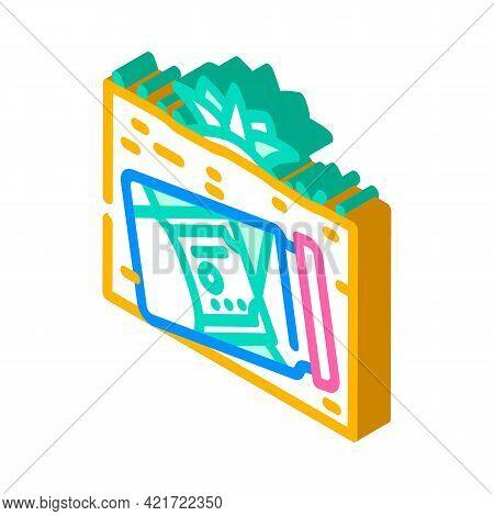 Money Buried In Garden Isometric Icon Vector. Money Buried In Garden Sign. Isolated Symbol Illustrat