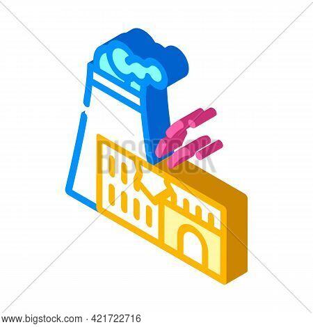 Explosion At Nuclear Power Plant Disaster Isometric Icon Vector. Explosion At Nuclear Power Plant Di