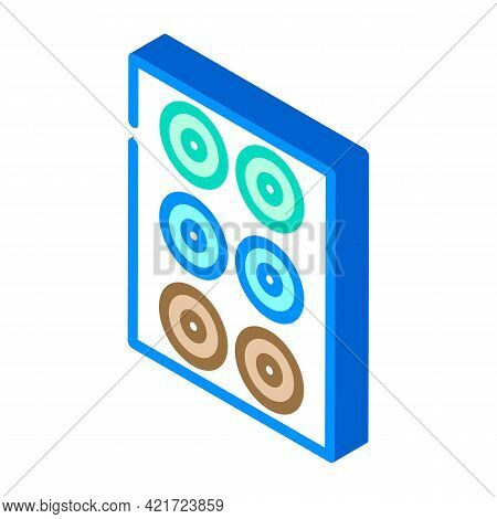 Lenses Set Of Different Colors Isometric Icon Vector. Lenses Set Of Different Colors Sign. Isolated