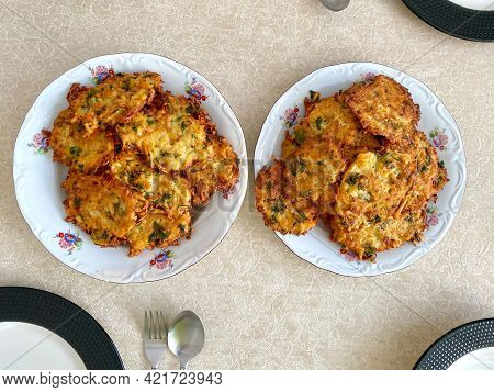 Mucver With Mashed Potatoes Fried Turkish And Greek Fritter. Homemade  Traditional Food.