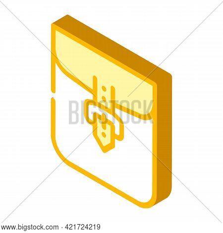 Clasp Pocket Isometric Icon Vector. Clasp Pocket Sign. Isolated Symbol Illustration