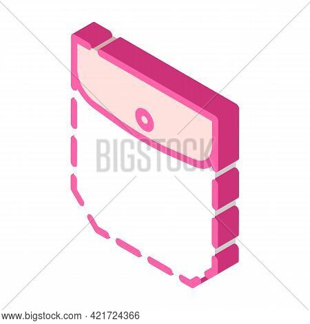 Patch Pocket With Welt Top And Flap Isometric Icon Vector. Patch Pocket With Welt Top And Flap Sign.