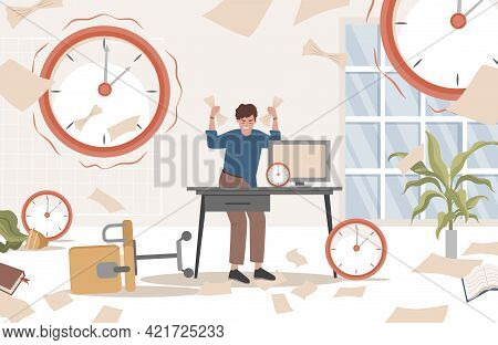 Stressed Man Standing In The Messy Office With Documents In His Hands Surrounded By Watches Vector F