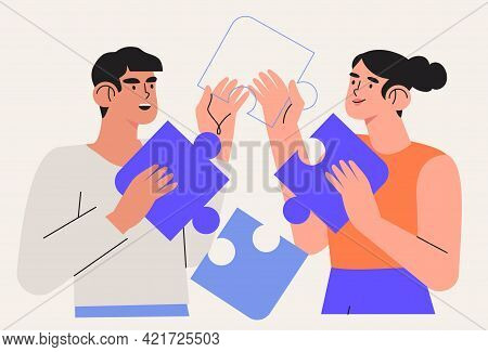 People Team Arrange Puzzle Vector Illustration. Characters Connecting Puzzle Elements Or Jigsaw Piec