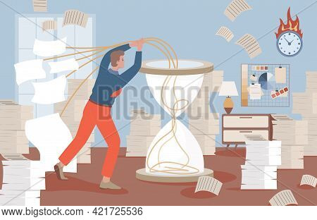 Man Puts Work Projects In Hourglass Vector Flat Illustration. Time Management, Workflow Optimization