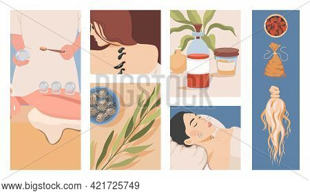 Chinese Or Oriental Traditional Alternative Medicine Vector Flat Illustration. Ginseng Root, Medicin