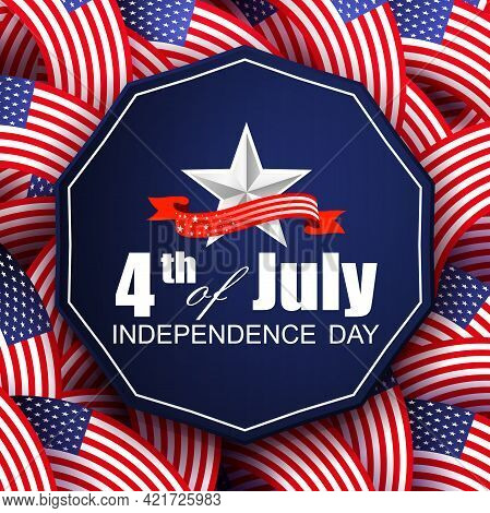 Solemn Greeting Card With Many Intertwined Usa Flags, Polygonal Blue Frame, Independence Day, Design