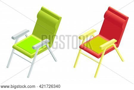 Isometric Summer Lounger Icon. Lounge Chair On Beach. Sunbathing By Sea. 3d Vector