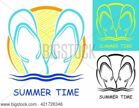 Pair Of Beach Slates, Flipflop On Background Of Sunset At Sea. Summer Vacation Time At Sea. Abstract