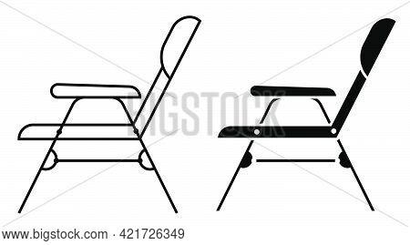 Summer Lounger Icon. Lounge Chair On Beach. Sunbathing By Sea. Simple Black And White Vector