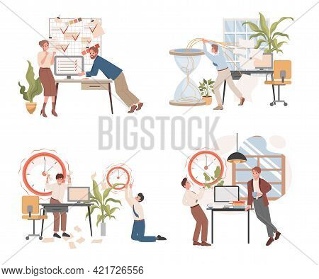 Deadline And Workflow Organization Vector Flat Illustration. People Discussing Their Projects, Plann