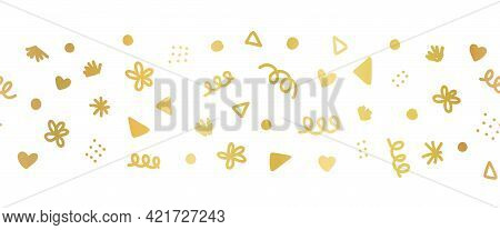 Seamless Border With Golden Decorative Party Sprinkle Scribble Doodle Shapes. Repeating Horizontal B