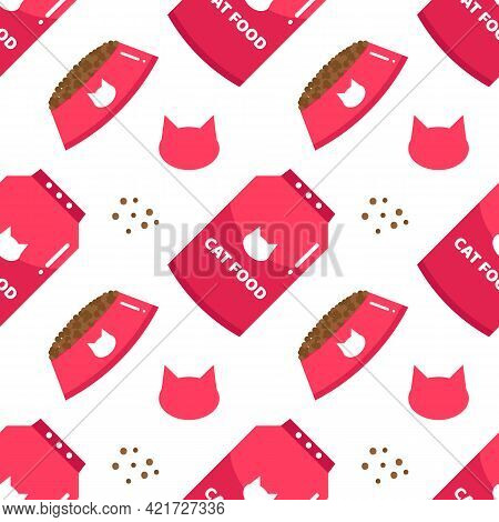 Dry Cat Food Ration In Pink Bowls And Packages Vector Seamless Pattern Background For Cat Food, Feed