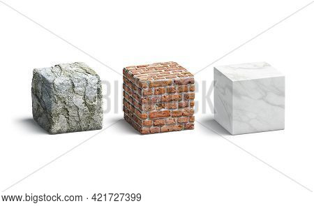 Blank Stone, Brick, Marble Cube Mock Up Set, 3d Rendering. Empty Cuboid With Mineral Wall Texture Mo