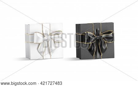 Blank Black And White Gift Box With Ribbon Bow Mockup, 3d Rendering. Empty Decorative Basket With Go