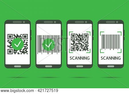 Scan Qr Code With Mobile Phone. Qr Code Scans Completed. Machine-readable Barcode On Smartphone Scre
