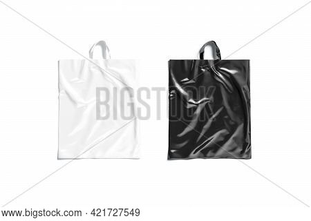 Blank Black And White Loop Handle Plastic Bag Mockup, Isolated, 3d Rendering. Empty Polythene Packag