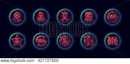 10 In 1 Vector Icons Set Related To Team Work Theme. Lineart Vector Icons In Geometric Neon Glow Sty