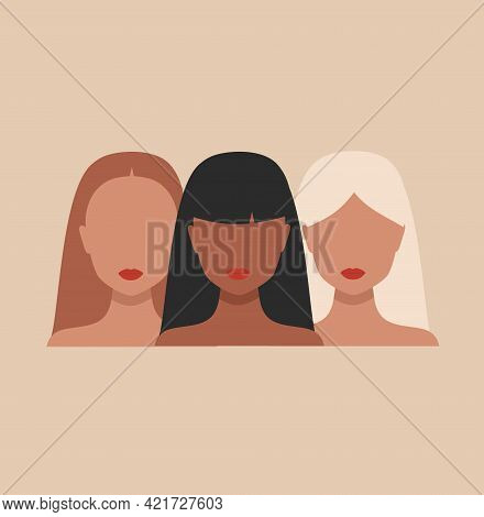 Vector Banner With Three Woman Portraits In Minimal Style. Female Faces Of Different Ethnicity And H
