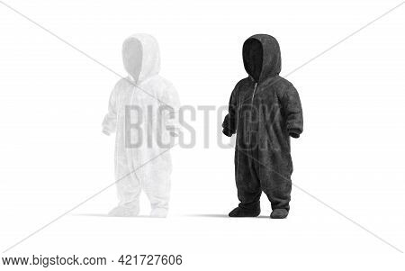 Blank Black And White Kid Plush Jumpsuit With Hood Mockup, 3d Rendering. Empty Children Growsuit Or