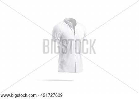 Blank White Short Sleeve Button Down Shirt Mockup, Side View, 3d Rendering. Empty Classic Linen Tank