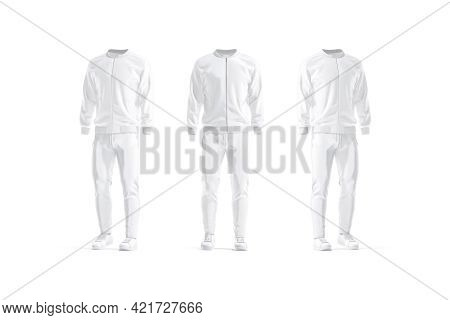Blank White Sport Tracksuit Mockup, Front And Side View, 3d Rendering. Empty Male Bomber, Sweatpants