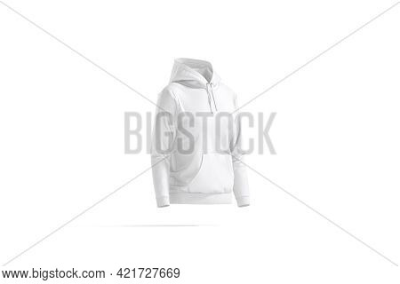 Blank White Women Sport Hoodie Mock Up, Side View, 3d Rendering. Empty Hooded Sweat Shirt For Woman