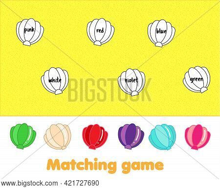 Matching Children Educational Game. Match Shells By Color. Activity For Kids And Toddlers Summer Hol