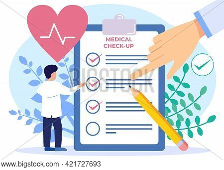 Vector Illustration Of Medical Examination As The Concept Of A Doctor's Medical Test On A Patient. P