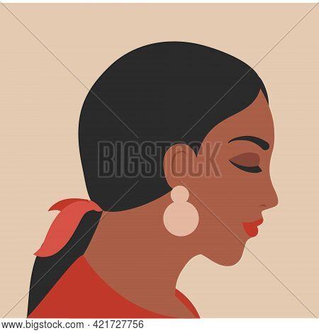 Woman Portrait In Minimal Style. Female Face Profile. Brunette Girl Vector Illustration