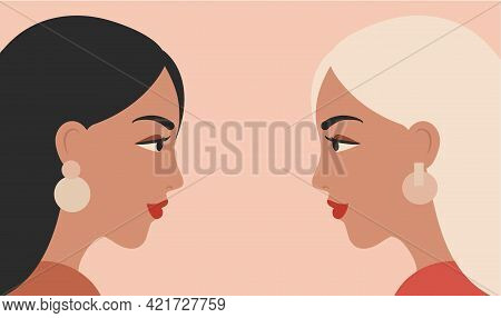 Vector Banner With Two Women Looking At Each Other. Female Face Profiles On Pink Background
