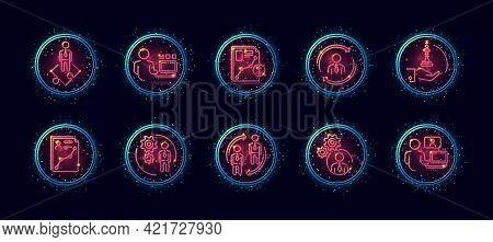 10 In 1 Vector Icons Set Related To Business Company Management Theme. Lineart Vector Icons In Geome