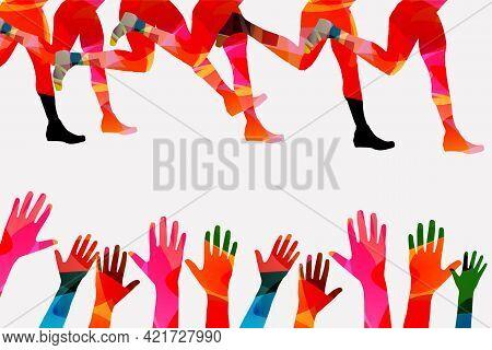 Running People, Marathon Race Poster Vector Illustration. Jogging Active People, Fitness Training, S