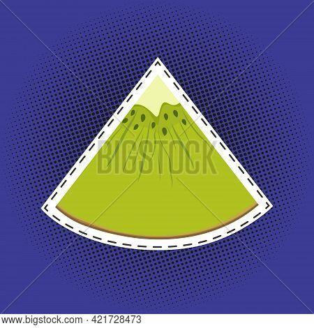 Slice Of Kiwifruit Sticker On A Purple Violet Pop Art Halftone Background, Black Dots In The Form Of