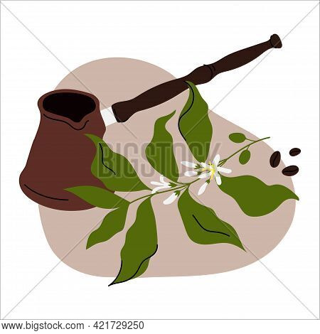 Coffee Composition With Copper, Coffee Branch And Beans. Hand-drawn Illustration.