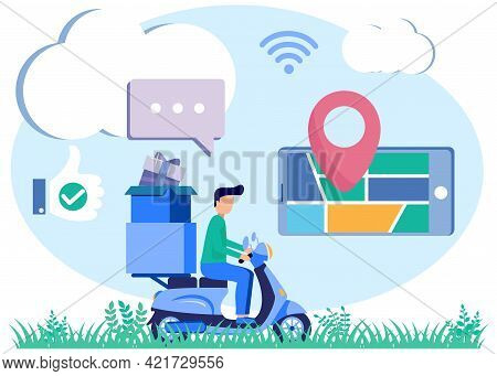 Flat Isometric Vector Illustration. Intelligent Logistics Concept. Online Delivery Service. The Cour