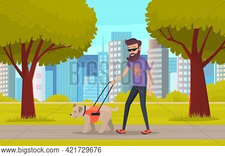 Blind Man In Glasses Walk With Service Dog On Leash In City Park Summertime, Guide Assistance. Train