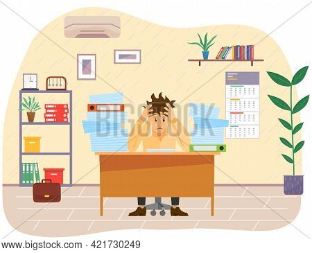 Stressed Businessman In Pile Of Office Papers And Documents Trying To Finish Work On Time. Stress An
