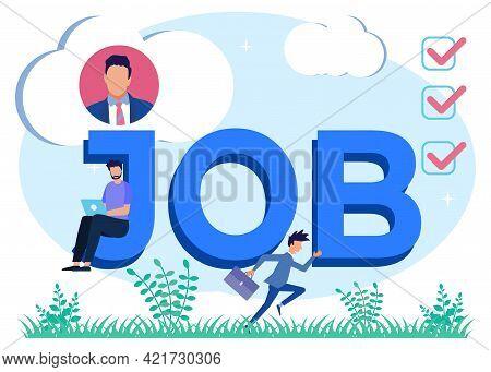 Flat Style Vector Illustration, Hiring Job Vacancies, Job Search, Recruitment, Workgroup, Freelance.