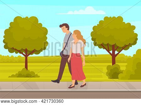 Couple In Relationship Walking In Garden. Young Guy And Girl Holding Hands Walking Together, Romanti