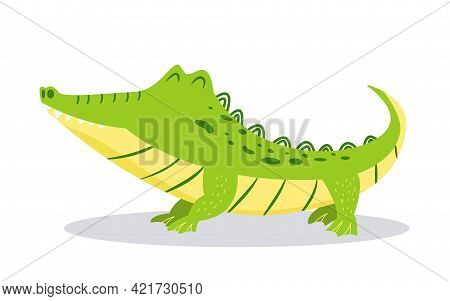 Cartoon Cute Crocodile Isolated On White Background. Bright Vector Illustration For Childrens Design