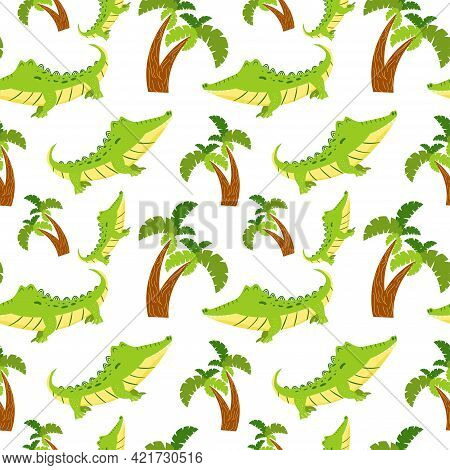 Seamless Pattern With Cute Cartoon Crocodile And Palm Tree. Endless Texture With Alligator And Wood