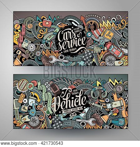 Cartoon Cute Colorful Vector Hand Drawn Doodles Automotive Corporate Identity. 2 Horizontal Banners
