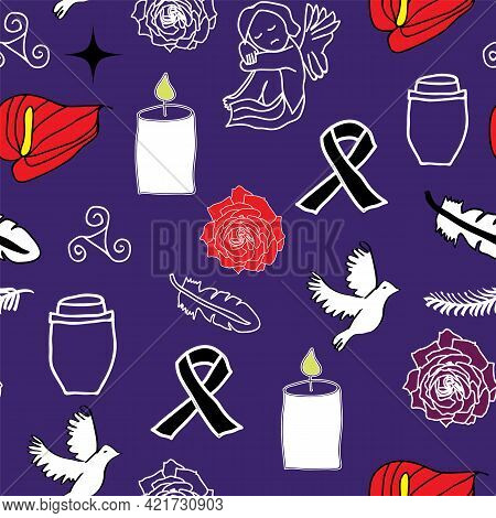 Passing Away, Rip And Funeral Background Seamless Pattern. Silhouette Of Guardian Angel, Caskin, Cro