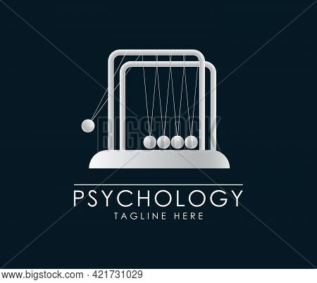 Newton's Cradle Logo. Hypnosis Therapy Sign. Psychologist Sign.