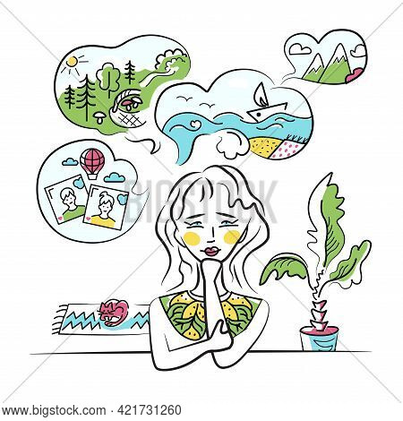 Summer Vacation Dreams, Vector Illustration. Girl, Woman Thinks About Travel To Mountains, Trip The