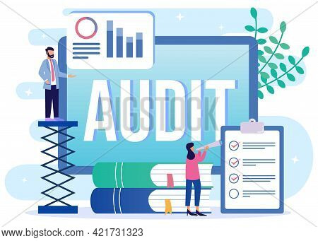 Flat Isometric Vector Illustration Isolated On White Background. Financial Audit Business Concept An